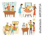family easter set with kids and ... | Shutterstock .eps vector #689293714