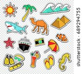travel to egypt doodle.... | Shutterstock .eps vector #689294755