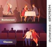romantic dinner dating couples... | Shutterstock .eps vector #689298394