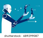 robot holding a business people.... | Shutterstock .eps vector #689299087