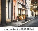 european old city street with... | Shutterstock . vector #689310067