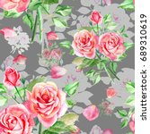 seamless watercolor pink roses... | Shutterstock . vector #689310619