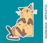 tired cat. vector illustration . | Shutterstock .eps vector #689310721