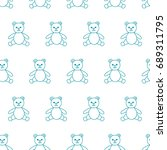 baby seamless pattern with bear ... | Shutterstock . vector #689311795