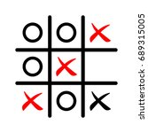 tic tac toe game icon in red... | Shutterstock .eps vector #689315005