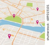 vector flat abstract city map... | Shutterstock .eps vector #689315101