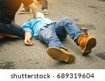 selective focus work accident....   Shutterstock . vector #689319604