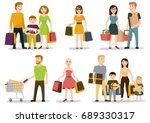 people shopping in mall vector... | Shutterstock .eps vector #689330317