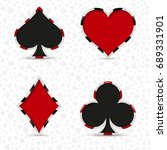 a set of four card deck suits... | Shutterstock .eps vector #689331901