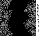Stock photo beautiful black and white seamless pattern roses with outlines hand drawn contour lines and 689332765