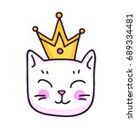 Stock vector white kitten with crown cute animal sticker patch badge pin vector isolated illustration 689334481