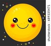 flat line emoticon. emotion... | Shutterstock .eps vector #689335471