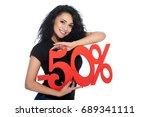 attractive young brunette woman ... | Shutterstock . vector #689341111