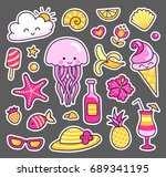 cute jellyfish  pineapple ... | Shutterstock .eps vector #689341195