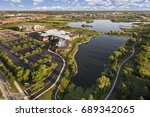 aerial view of a lake beside a...   Shutterstock . vector #689342065