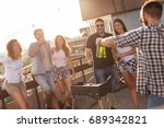 group of young friends having... | Shutterstock . vector #689342821