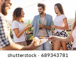 group of young friends having... | Shutterstock . vector #689343781