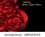 vector red roses on a black... | Shutterstock .eps vector #689343925