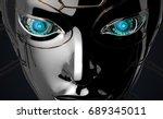 female bot face on dark digital ...