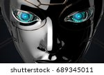 Female Bot Face On Dark Digita...