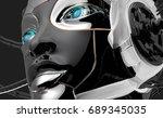 female bot face on dark digital ... | Shutterstock . vector #689345035