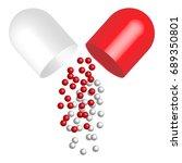 opened 3d capsule pills...   Shutterstock .eps vector #689350801