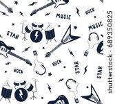 rock 'n' roll icons pattern... | Shutterstock .eps vector #689350825
