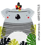 poster. cartoon koala. white... | Shutterstock .eps vector #689357515