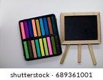 colorful chalk and blackboard... | Shutterstock . vector #689361001