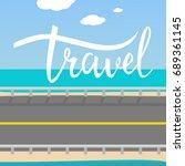 travel card. hand drawn modern... | Shutterstock .eps vector #689361145