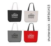canvas bag design  mock up  | Shutterstock .eps vector #689361415