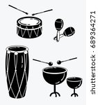 a set of percussion musical... | Shutterstock .eps vector #689364271