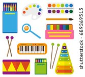 set of children's toys for the... | Shutterstock .eps vector #689369515