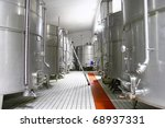 Big cistern for wine storage - stock photo