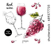 hand drawn ink sketch of wine... | Shutterstock .eps vector #689377735