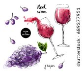 hand drawn ink sketch of wine... | Shutterstock .eps vector #689377951
