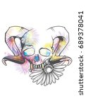 human skull with horns and... | Shutterstock .eps vector #689378041