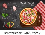 "pizza ""meat feast"" on the... 