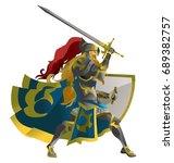 Fantasy Warrior Knight With...