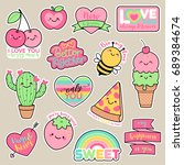 set of girl fashion patches ... | Shutterstock .eps vector #689384674