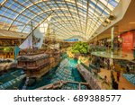 Small photo of EDMONTON, CANADA - JULY 7, 2017 : St.Maria pirate vessel in the West Edmonton Mall. Its the largest shopping mall in North America and the tenth largest in the world.