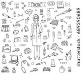 hand drawn doodle doctor icons... | Shutterstock .eps vector #689390689