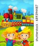 cartoon train scene with happy... | Shutterstock . vector #689394487