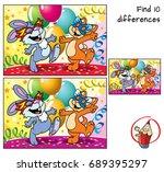 happy rabbit and cat dancing in ... | Shutterstock .eps vector #689395297