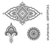 henna tattoo flower template.... | Shutterstock .eps vector #689399161