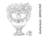 image of big antique flowerpot... | Shutterstock . vector #689401969
