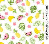 seamless pattern with tropical... | Shutterstock .eps vector #689406889