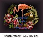 tropical leaves. exotic blossom ...   Shutterstock .eps vector #689409121
