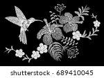 hummingbird tropical embroidery ... | Shutterstock .eps vector #689410045