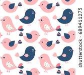 cute vector seamless pattern... | Shutterstock .eps vector #689411275
